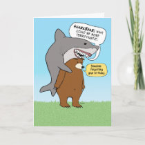 Funny Bear and Shark Birthday Card