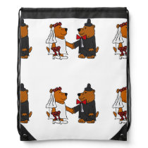 Funny Bear Bride and Groom Wedding Art Drawstring Backpack