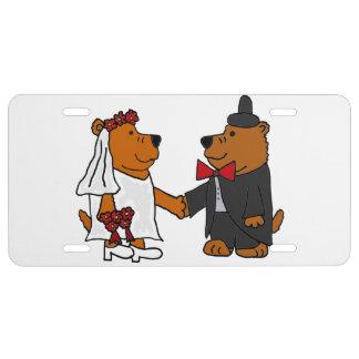 Funny Bear Bride and Groom Wedding Art License Plate