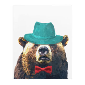 Funny bear cute woodland animal watercolor acrylic print