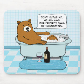 Funny Bear Drinking Wine, Relaxing in Tub Mouse Pad