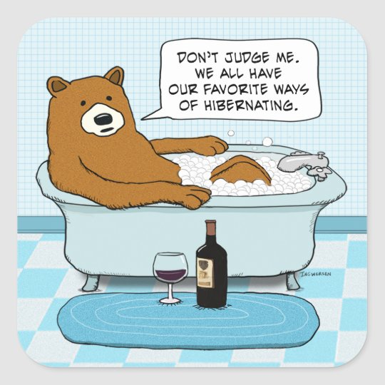 Funny Bear Drinking Wine Relaxing In Tub Square Sticker