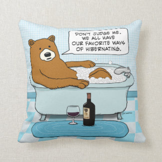 Funny Bear Drinking Wine, Relaxing in Tub Throw Pillow