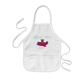 Funny bear flying by plan kids' apron