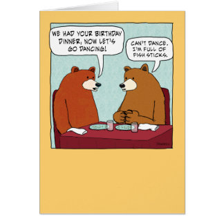 Funny Bear Full of Fish Sticks Birthday Card