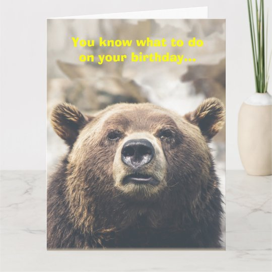 Funny Bear Giant Birthday Card Bear Pun Custom Zazzle