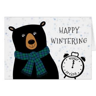 Funny Bear Happy Winter Season Wishes Greeting Card