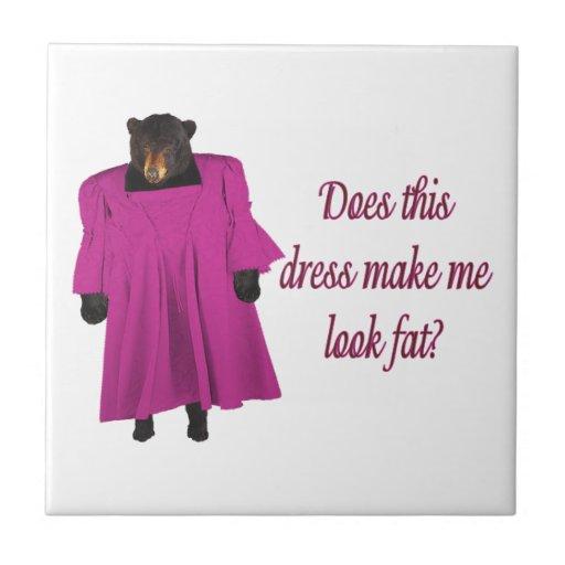 Funny Bear In Dress Ceramic Tiles