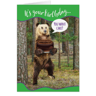 Funny Bear in the Woods With Birthday Cake Card