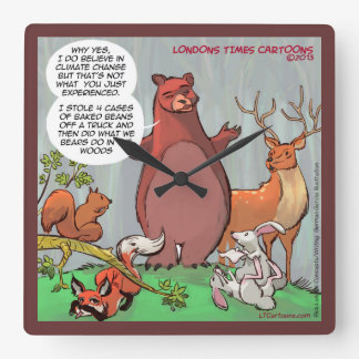 Funny Bear & Its Take On Climate Change Wall Clock
