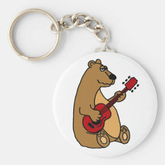 Funny Bear Playing Guitar Keychain