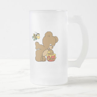Funny Bear Sneaking Honey 16 Oz Frosted Glass Beer Mug