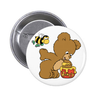 Funny Bear Sneaking Honey 2 Inch Round Button
