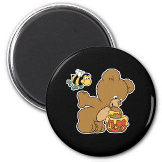 Funny Bear Sneaking Honey 2 Inch Round Magnet