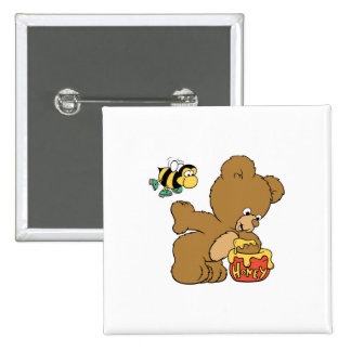 Funny Bear Sneaking Honey 2 Inch Square Button