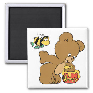 Funny Bear Sneaking Honey 2 Inch Square Magnet