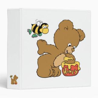 Funny Bear Sneaking Honey 3 Ring Binder