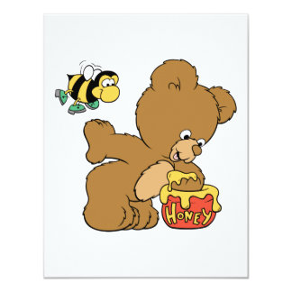 Funny Bear Sneaking Honey 4.25x5.5 Paper Invitation Card