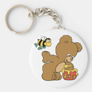 Funny Bear Sneaking Honey Basic Round Button Keychain