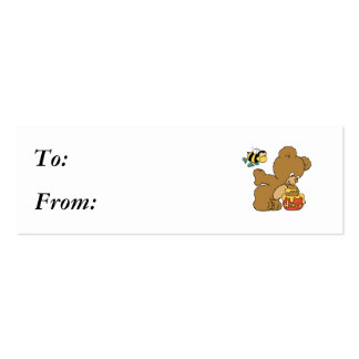 Funny Bear Sneaking Honey Double-Sided Mini Business Cards (Pack Of 20)