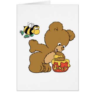 Funny Bear Sneaking Honey Greeting Card