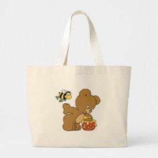 Funny Bear Sneaking Honey Jumbo Tote Bag