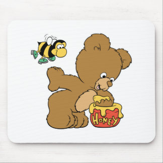 Funny Bear Sneaking Honey Mouse Pad