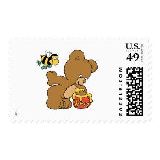 Funny Bear Sneaking Honey Postage