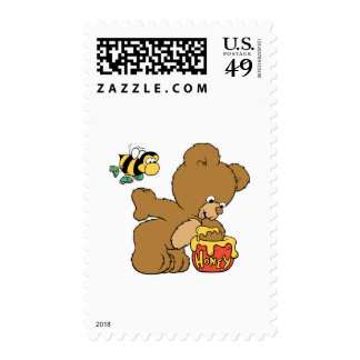 Funny Bear Sneaking Honey Postage Stamp