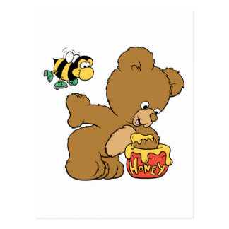 Funny Bear Sneaking Honey Postcard