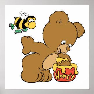 Funny Bear Sneaking Honey Poster