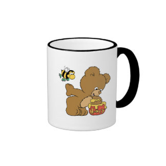 Funny Bear Sneaking Honey Ringer Coffee Mug