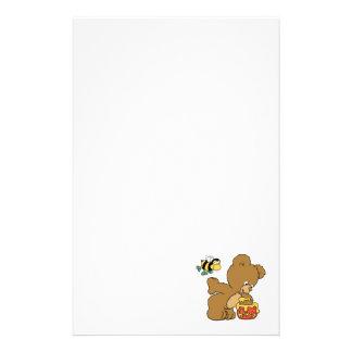 Funny Bear Sneaking Honey Stationery