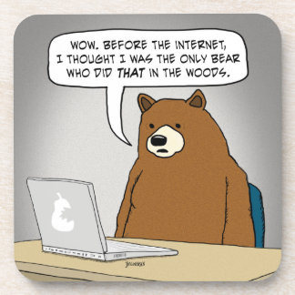Funny Bear Surfing the Internet Coaster