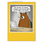 Funny Bear Surfing the Internet Greeting Card