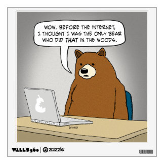 Funny Bear Surfing the Internet Wall Decals