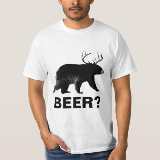 Funny bear with antlers beer shirt