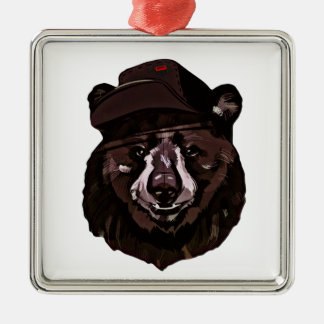 Funny Bear with Hat Metal Ornament