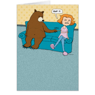 Funny Bear with Pointy Stick Birthday Card