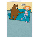 Funny Bear with Pointy Stick Birthday Greeting Card