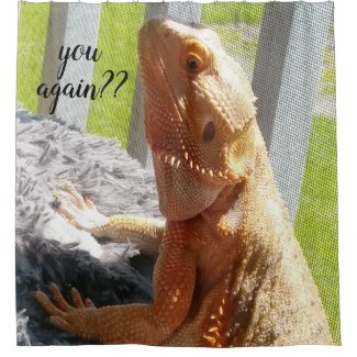 Funny Bearded Dragon Photo Print Shower Curtain