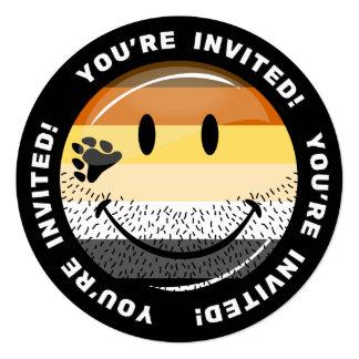 Funny Bearded Happy Gay Bear Pride Flag Card