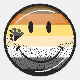Funny Bearded Happy Gay Bear Pride Flag Classic Round Sticker
