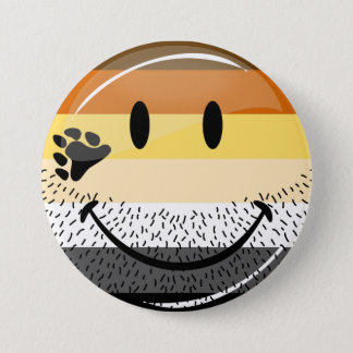 Funny Bearded Happy Gay Bear Pride Flag Pinback Button
