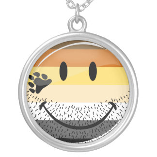 Funny Bearded Happy Gay Bear Pride Flag Silver Plated Necklace