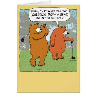 Funny Bears Golfing Birthday Card