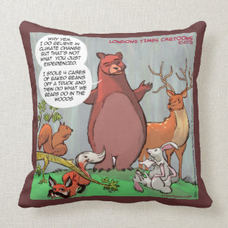 Funny Bear's Take On Climate Change Throw Pillow