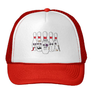Funny Beat Up Bowling Pins Trucker Hat