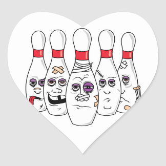 Funny Beat Up Bowling Pins Heart Sticker