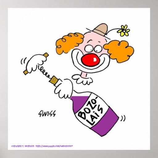 Funny Beaujolais Wine Cartoon Poster